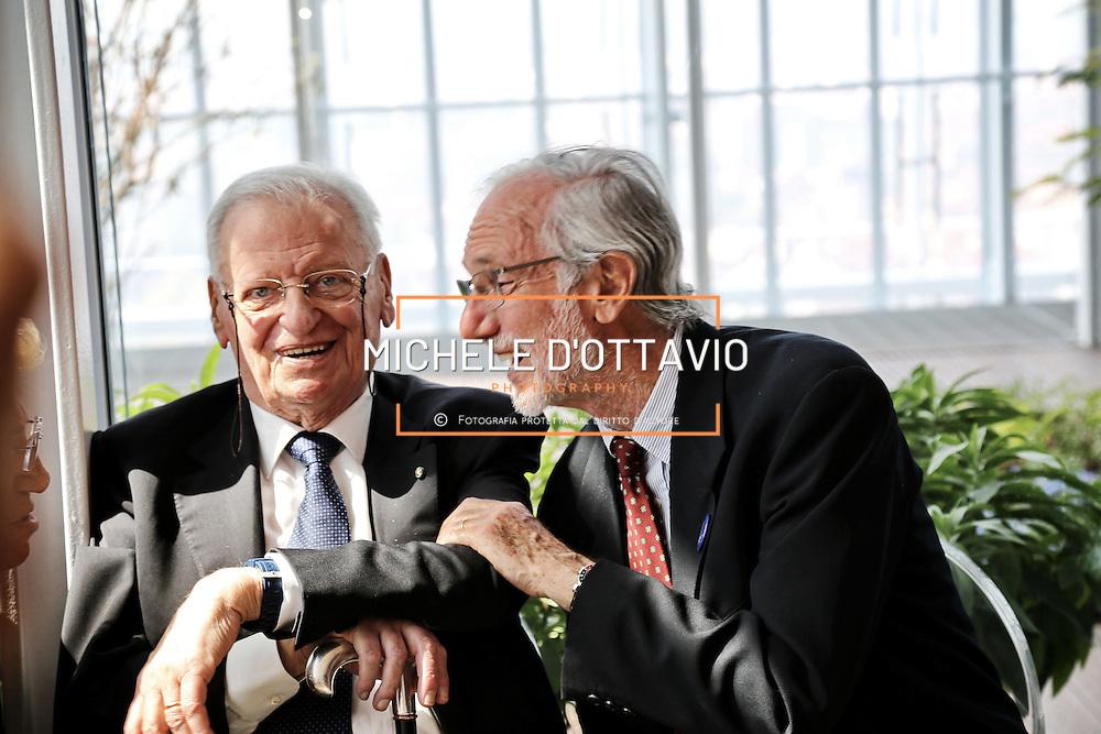 Enrico Salza e Renzo Piano in occasione della giornata di inaugurazione del Grattacielo di Intesa Sanpaolo, 10 aprile 2015 Torino.