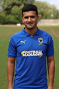 AFC Wimbledon midfielder Neset Bellikli (27) during the AFC Wimbledon 2018/19 official photocall at the Kings Sports Ground, New Malden, United Kingdom on 31 July 2018. Picture by Matthew Redman.