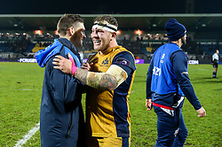 Max Crumpton celebrates with Will Cliff of Bristol Rugby after Bristol Rugby win the game 18-28 - Rogan Thomson/JMP - 16/12/2016 - RUGBY UNION - Stade du Hameau - Pau, France - Pau v Bristol Rugby - EPCR Challenge Cup.
