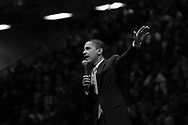 Democrat presidential candidate Barack Obama speaks on a campaign stop at Youngstown State University's Beeghly Center in Youngstown, Ohio on February 18, 2008.