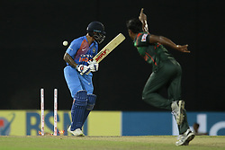 March 14, 2018 - Colombo, Sri Lanka - Indian cricketer Shikhar Dhawan is bowled out by Bangladesh's Rubel Hossain during the 5th Twenty-20 cricket match of NIDAHAS Trophy between Bangladesh and India at R Premadasa cricket ground, Colombo, Sri Lanka on Wednesday 14 March 2018. (Credit Image: © Tharaka Basnayaka/NurPhoto via ZUMA Press)