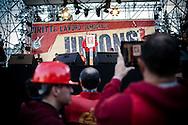 28 Marzo 2015, Roma, Italia. Manifestaione Fiom-Cgil, Unions. Maurizio Landini segretario generale della FIOM-CGIL durante il suo discorso Piazza del Popolo.