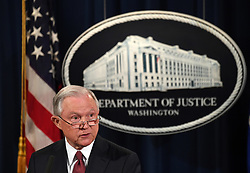 September 5, 2017 - Washington, District of Columbia, U.S. - U.S. Attorney General JEFF SESSIONS speaks during a press conference. Sessions said Tuesday the Deferred Action for Childhood Arrivals (DACA) program has been rescinded. The move potentially puts 800,000 illegal immigrants in danger of deportation. (Credit Image: © Yin Bogu/Xinhua via ZUMA Wire)