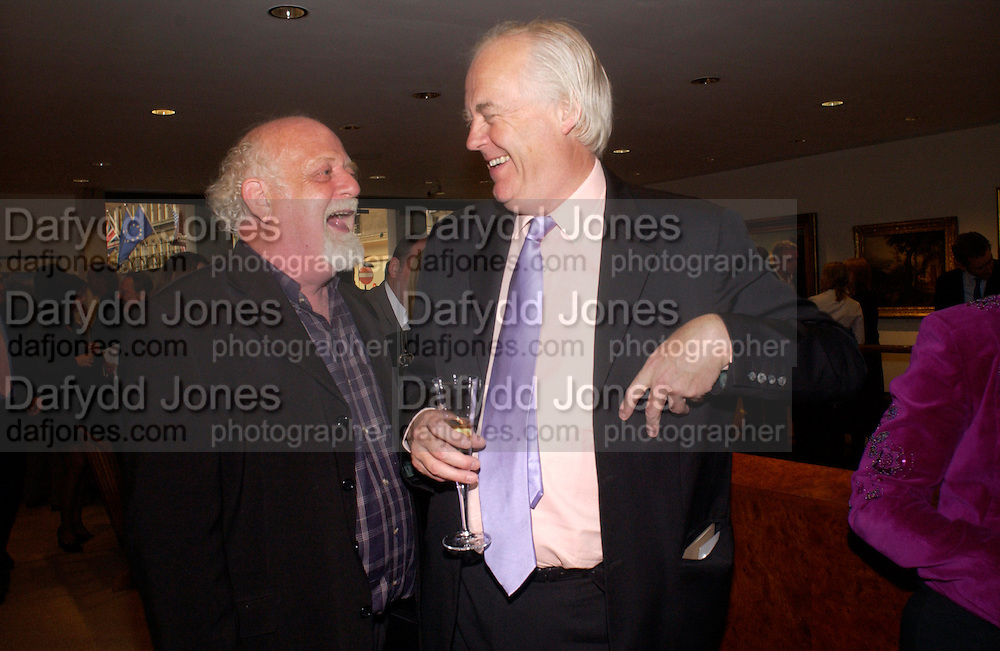 Roland Muldoon and Sir Tim Rice, Fundraising evening in aid of Education at the Hackney Empire. Hosted by Fleming Family and partners at The Fleming collection. Berkeley St.  24 June 2004. SUPPLIED FOR ONE-TIME USE ONLY-DO NOT ARCHIVE. © Copyright Photograph by Dafydd Jones 66 Stockwell Park Rd. London SW9 0DA Tel 020 7733 0108 www.dafjones.com