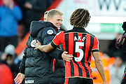 AFC Bournemouth manager Eddie Howe congratulates the winning goal scorer Nathan Ake of AFC Bournemouth at full time to celebrate the 4-3 win over Liverpool during the Premier League match between Bournemouth and Liverpool at the Vitality Stadium, Bournemouth, England on 4 December 2016. Photo by Graham Hunt.