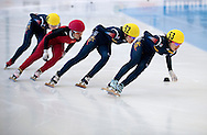 (R-L) Kong Sangjeong (53) & Kim Alang (52) both of South Korea & Han Yutong (17) of China & Noh Do Hee (54) of South Korea compete in the Women's 1000 Meters on day three of the 2013 ISU Short Track Speed Skating Junior World Championships at Torwar Ice Hall on February 24, 2013 in Warsaw, Poland...Poland, Warsaw, February 24, 2013...Picture also available in RAW (NEF) or TIFF format on special request...For editorial use only. Any commercial or promotional use requires permission...Photo by © Adam Nurkiewicz / Mediasport
