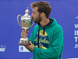 LIVERPOOL, ENGLAND - Sunday, June 23, 2019: Paulo Lorenzi (ITA) kisses the Boodle & Dunthorne Trophy after winning the Men's Final during Day Four of the Liverpool International Tennis Tournament 2019 at the Liverpool Cricket Club. Lorenzi beat Robert Kendrick (USA) 7-6, 6-2. (Pic by David Rawcliffe/Propaganda)