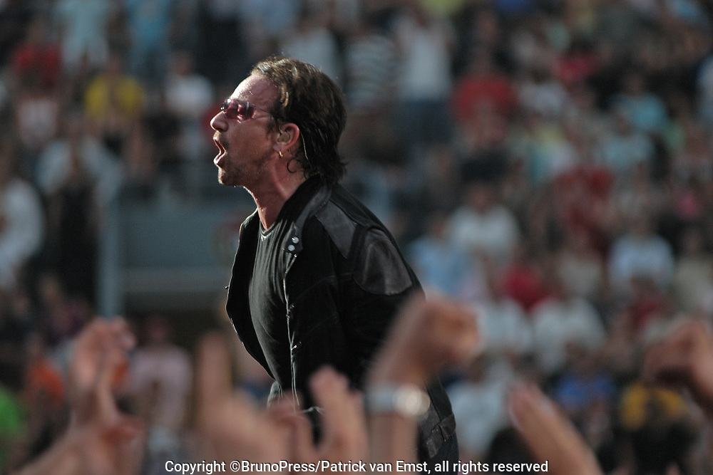 U2 live in the Amsterdam Arena, The Netherlands as a part of their Vertigo Tour