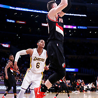 26 March 2016: Portland Trail Blazers center Jusuf Nurkic (27) grabs a rebound during the Portland Trail Blazers 97-81 victory over the Los Angeles Lakers, at the Staples Center, Los Angeles, California, USA.