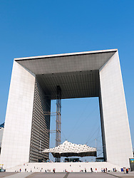 The Grande Arche building in La Defense district of Paris France