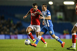 Brighton's Tomer Hemed under pressure from Bristol City's Marlon Pack - Mandatory byline: Jason Brown/JMP - 07966 386802 - 20/10/2015 - FOOTBALL - American Express Community Stadium - Brighton,  England - Brighton & Hove Albion v Bristol City - Championship