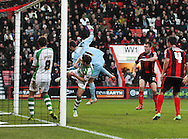 Picture by Tom Smith/Focus Images Ltd 07545141164<br /> 26/12/2013<br /> Elliot Ward (2nd right) of Bournemouth puts the ball in the net but it is not allowed during the Sky Bet Championship match at the Goldsands Stadium, Bournemouth.