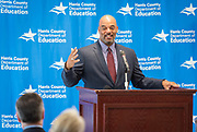 Harris County Department of Education Superintendent James Colbert comments during a ribbon cutting ceremony for the new Baytown Head Start and Early Head Start facility, May 23, 2019.