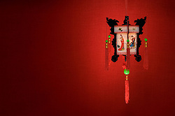 Chinese lantern on a red background