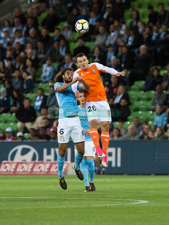 October 6, 2017 - Melbourne, Victoria, Australia - Melbourne, Victoria, Australia - Osama Malik (#6) of Melbourne City and Nicholas D'agostina (#26) of Brisbane Roar in action during the round 1 match between Melbourne City and Brisbane Roar at AAMI Park in Melbourne, Australia during the 2017/2018 Australian A-League season. (Credit Image: © Theo Karanikos via ZUMA Wire)