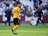 Football - 2018 / 2019 Premier League - West Ham United vs. Wolverhampton Wanderers<br /> <br /> Wolverhampton Wanderers' Jonny Otto celebrates at the final whistle with the fans after their 1-0 victory, at The London Stadium.<br /> <br /> COLORSPORT/ASHLEY WESTERN