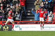Kieran Agard (R) celebrates the first goal for Bristol City against Hull City during the Sky Bet Championship match at Ashton Gate, Bristol<br /> Picture by Mike Griffiths/Focus Images Ltd +44 7766 223933<br /> 21/11/2015