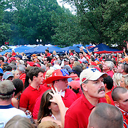 Fans gather in The Grove before an NCAA college football game in Oxford, Miss., Saturday, Sept. 15, 2012. (Photo/Thomas Graning)