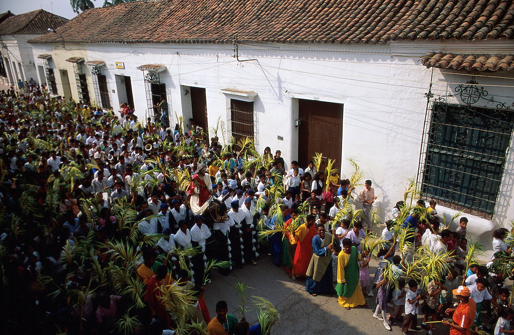 COLOMBIA: Mompox, Bolivar.Jesus arrives on Palm Sunday in the Sapnish Colonial town of Mompox, where Gabriel Garcia Marquez based his 100 years of Solitude setting: Macondo