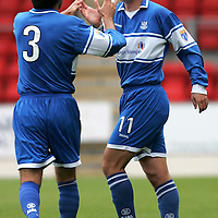 St Johnstone v Queen of the South...21.10.06<br />Paul Sheerin celebrates opening the scoring with Goran Stanic.<br /><br />Picture by Graeme Hart.<br />Copyright Perthshire Picture Agency<br />Tel: 01738 623350  Mobile: 07990 594431