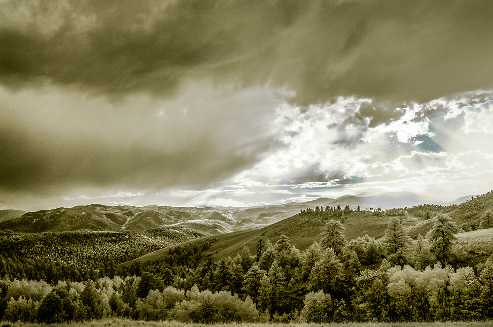 Rocky Mountain Colleagiate Range at sunset (infrared); Fremont County, CO