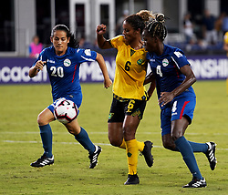 October 12, 2018 - Edinburgh, Scotland, United Kingdom - Edinburg, NC - OCTOBER 11: 2018.L-R Laura Moreno Marquez of Cuba, Christina Chang of Jamaica and Jessica Pupo Alvarez of Cuba.During CONCACAF Women's Championship Group B match between Cuba against Jamaica at H-E-BPark Stadium, Edinburg,  on October 11, 2018  (Credit Image: © Action Foto Sport/NurPhoto via ZUMA Press)