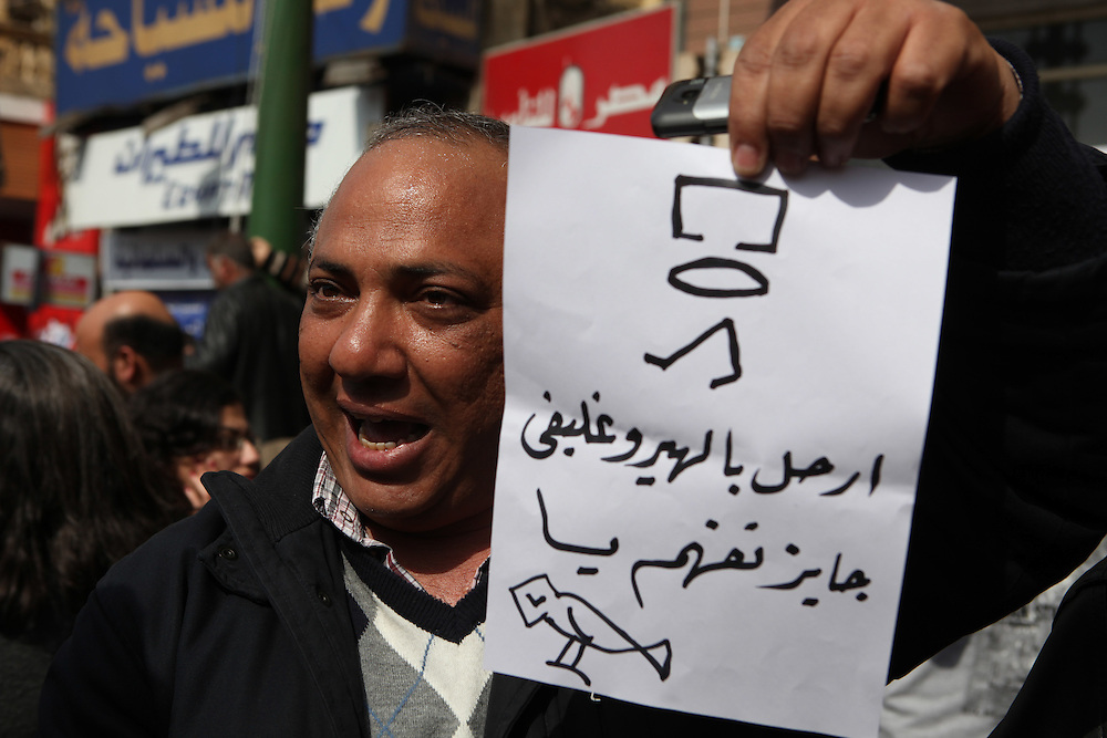A protester holds a sign written in Hieroglyphics calling for Mubarak's ouster.