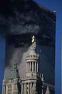 New York. 9/11  terrorist attack on the twin towers of the world trade center towers on fire, in Manhattan  New york  Usa   /   9 septembre, attaque terroriste sur les tours du world trade center en feu , Manhattan  New york  USA