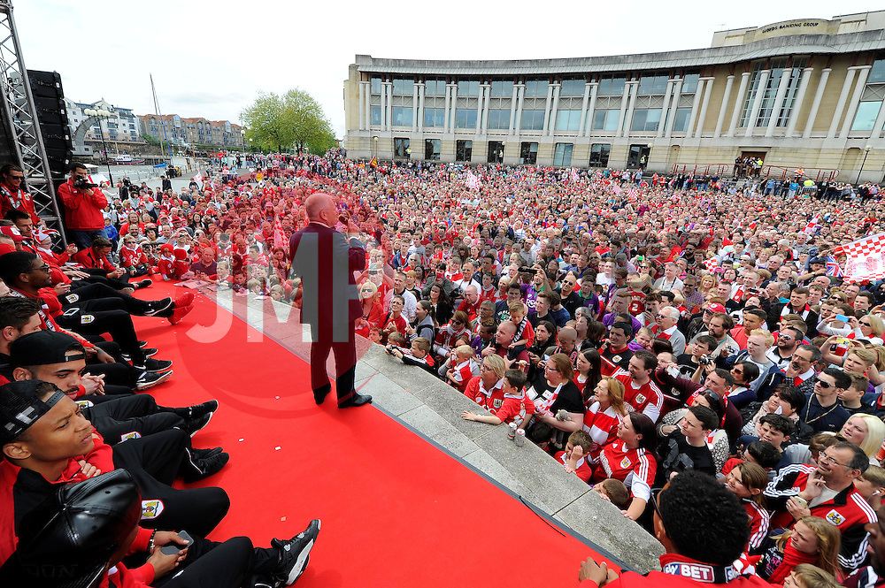 Bristol City's majority shareholder, Steve Lansdown addresses the thousands of fans gathered at the amphitheatre in Bristol  - Photo mandatory by-line: Joe Meredith/JMP - Mobile: 07966 386802 - 04/05/2015 - SPORT - Football - Bristol -  - Bristol City Celebration Tour
