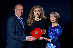 NEWPORT, WALES - Saturday, May 27, 2017: Ellie-Mai Sanford and family with her Under-16 Wales cap at the Celtic Manor Resort. (Pic by David Rawcliffe/Propaganda)