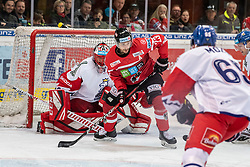 13.04.2019, Keine Sorgen Eisarena, Linz, AUT, Euro Hockey Challenge, Österreich vs Tschechien, Länderspiel, im Bild v.l. Tormann Jakub Kovar (CZE), Stürmer Fabio Hofer (AUT) // during the international friendly match between Austria and Czech Republic, as part of the Euro Hockey Challenge at the Keine Sorgen Eisarena in Linz, Austria on 2019/04/13. EXPA Pictures © 2019, PhotoCredit: EXPA/ Reinhard Eisenbauer