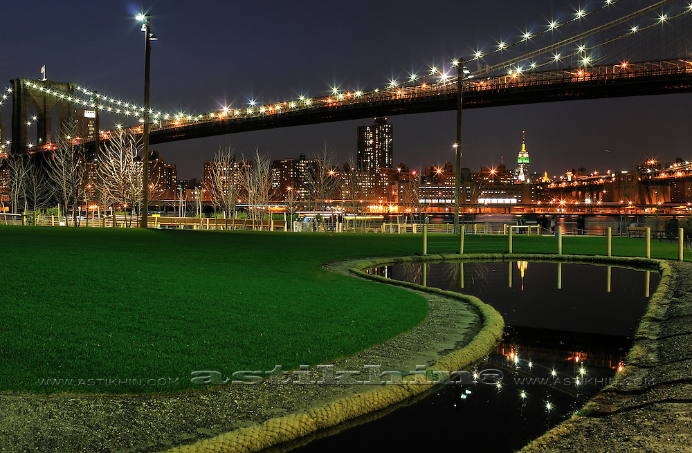 Reflection on water in Brooklyn Bridge Park