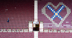 Interior view of stand seating at Tyncastle Stadium the home of Hearts Football Club in Edinburgh Scotland, UK ++ Editorial Use Only ++