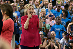 Philadelphia, Pennsylvania, USA - July 29, 2016; Democratic presidential nominee former Secretary of State Hillary Clinton, joined by Democratic vice presidential nominee U.S. Sen. Tim Kaine hold a Post-DNC rally at Temple University in Philadelphia, PA at which they commence on a joined bus tour, kicking of the lasting 100-days till the General Elections.