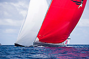 Ghost and Highland Breeze sailing in the 2010 St. Barth's Bucket superyacht regatta, race 1.