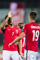 October 5, 2017 - San Marino, SAN MARINO - 171005 Joshua King and Markus Henriksen of Norway celebrate a goal during the FIFA World Cup Qualifier match between San Marino and Norway on October 5, 2017 in San Marino. .Photo: Fredrik Varfjell / BILDBYRN / kod FV / 150027 (Credit Image: © Fredrik Varfjell/Bildbyran via ZUMA Wire)