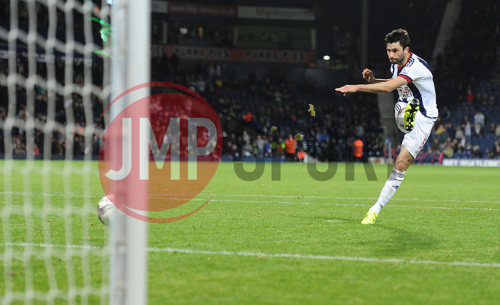 West Bromwich Albion's Claudio Yacob scores his penalty. - Mandatory byline: Alex James/JMP - 07966386802 - 25/08/2015 - FOOTBALL - The Hawthorns -Birmingham,England - West Brom v Port Vale - Capital One Cup