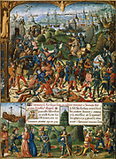 Louis IX (1215-1270) King of France from 1226, known as St Louis. Louis and crusaders after defeat at Mansourah during the Sixth Crusade (1248-1254) retreat towards Damietta (Nile Delta). Many taken prisoner by the Saracens, including Louis. He was ransomed for 1,000,000 marks in 1250. 'Le Livre de Faiz Monseigneur St Louis'. Anonymous 15th century French manuscript.