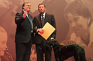 David Blunkett and John Prescott at the Labour Party conference, held in Glasgow, Scotland, on 15th February 2003. The same day massive anti-Iraq war peace protests were held throughout Britain, with the general public opposing the imminent invasion of Iraq.