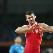 Wrestling - Olympics: Day 11 Davor Stefanek of Serbia, celebrates after defeating Shmagi Bolkvadze of Georgia in the Men's Greco-Roman 66 kg Semifinals contest during the wrestling tournament at the Carioca Arena 2 on August 16, 2016 in Rio de Janeiro, Brazil. (Photo by Tim Clayton/Corbis via Getty Images)