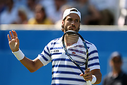 Spain's Feliciano Lopez celebrates beating Switzerland's Stan Wawrinka during day two of the 2017 AEGON Championships at The Queen's Club, London.