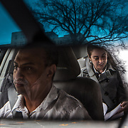 "WASHINGTON, DC - APR 4:  UberX driver, Michael Belet, a former Barwood driver, drives Nora Toiv to Alexandria, VA , April 7, 2014. Thousands of local car owners have signed up in recent months to drive with one of the ""ride-share"" operators that use smartphone apps to link people needing rides with car owners willing to give them, for a price. (Photo by Evelyn Hockstein/For The Washington Post)"