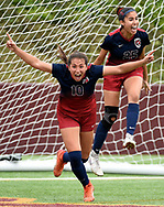 Tompkins forward Barbara Olivieri, left, celebrates her goal with Gabriela Rodriguez during the first half of a 6A region 3 final high school soccer match against Kingwood, Saturday, April 13, 2019, in Deer Park.