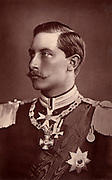 Wilhelm II (1859-1941) Emperor of Germany 1888-1918. Photographic portrait published in London in 1887 before his father began his brief reign as Frederick II.  From 'Two Royal Lives' by Dorothea Roberts (London, 1887).  Woodbury type.