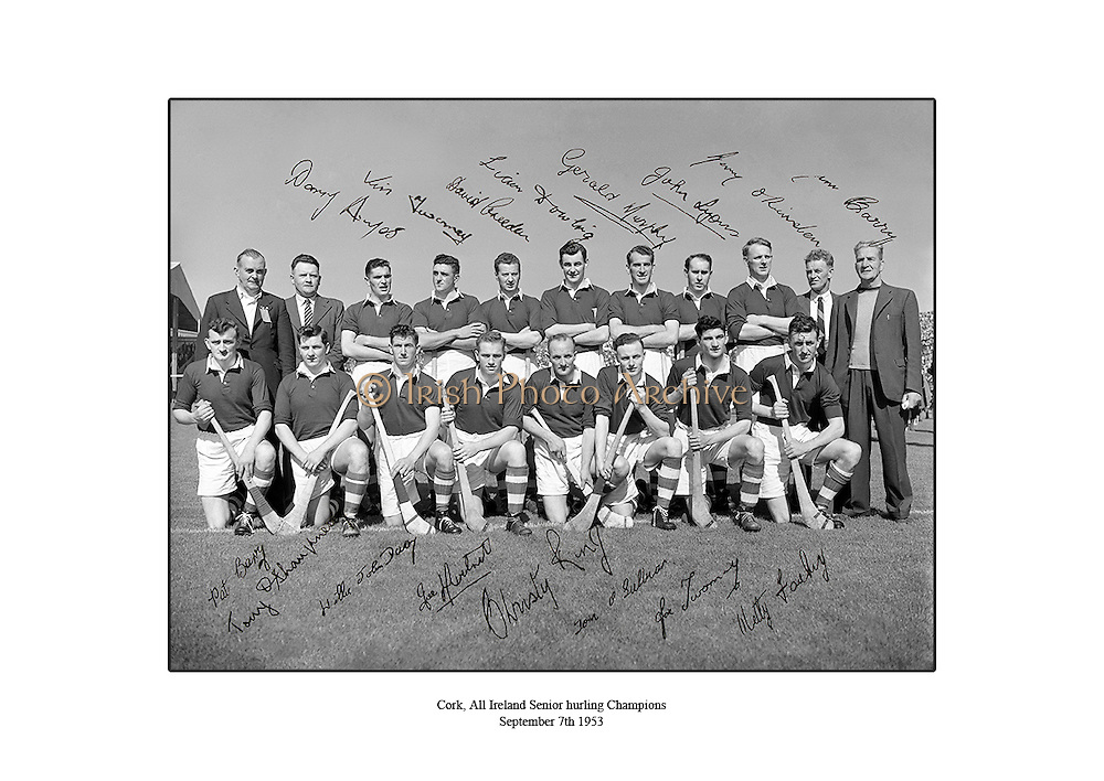 Cork All Ireland Senior Hurling Champions, September 7th 1953