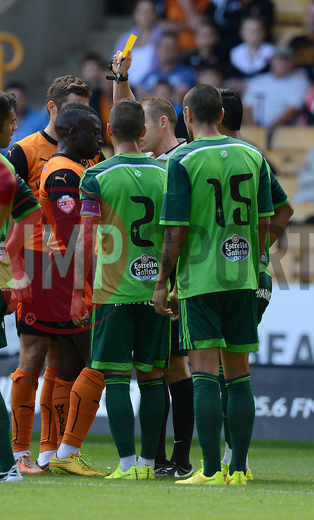 Wolverhampton's Nouha Dicko gets booked.  - Photo mandatory by-line: Alex James/JMP - Tel: Mobile: 07966 386802 2/08/2014 - SPORT - FOOTBALL - Bristol - Memorial Ground  -   Wolverhampton vs  Celta Vigo - preseason