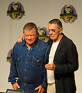 Atlanta -  Former Star Trek star William Shatner, Captain James Tiberius Kirk smiles as  Leonard Nimoy, Mr. Spock, puts  his arm on his shoulder  during the Dragon Con convention at the Hyatt on Friday, September 4, 2009. © 2009 Johnny Crawford