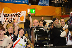 17.05.2015, Walfersamhalle, Kapfenberg, AUT, ABL, ece Bulls Kapfenberg vs magnofit Guessing Knights, 3. Semifinale, im Bild die Fans Von Guessing nach de Sieg gegen Kapfnberg // during the Austrian Basketball League, 3th semifinal, between ece Bulls Kapfenberg and magnofit Guessing Knights at the Sportscenter Walfersam, Kapfenberg, Austria o00000n 2015/05/17, EXPA Pictures © 2015, PhotoCredit: EXPA/ Dominik Angerer