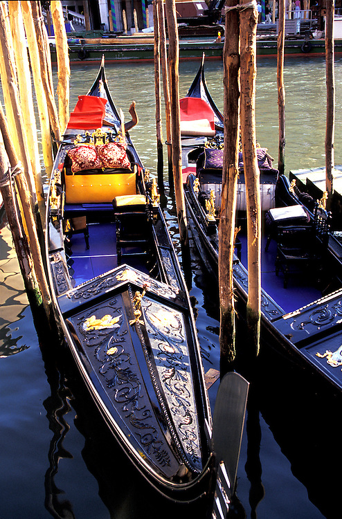 Venice, Italy: Gondolas line the canals of this beautiful city.