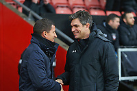 Football - 2017 / 2018 FA Cup - Fourth Round : Southampton vs. Watford<br /> <br /> Southampton Manager Mauricio Pellegrino greets Watford Head Coach Javi Gracia at St Mary's Stadium Southampton<br /> <br /> COLORSPORT/SHAUN BOGGUST